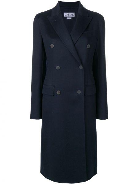 Кашемировое длинное пальто с капюшоном двубортное Loewe