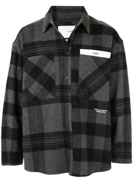 Акриловая черная классическая рубашка с воротником с заплатками Yoshiokubo