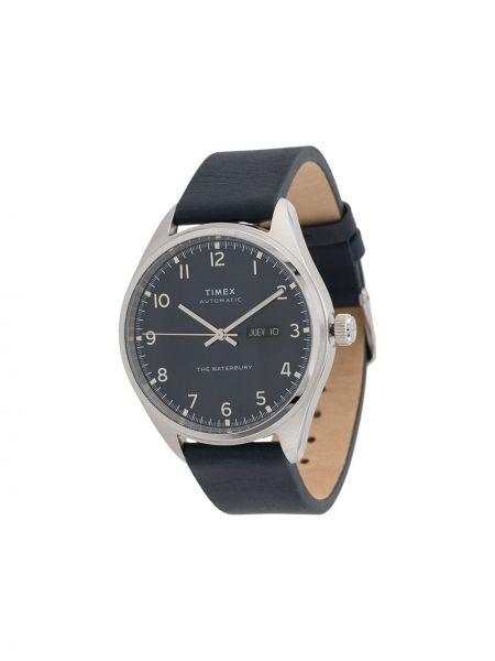 Zegarek na skórzanym pasku skórzany - szary Timex