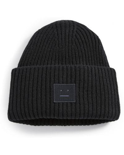 Prążkowany czarny kapelusz wełniany Acne Studios