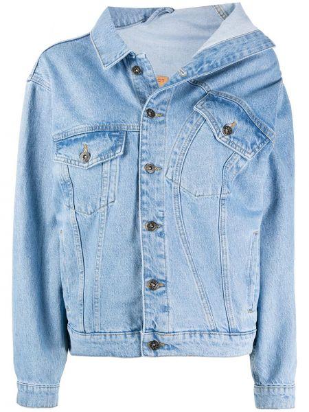 Хлопковая синяя длинная куртка с воротником Y/project