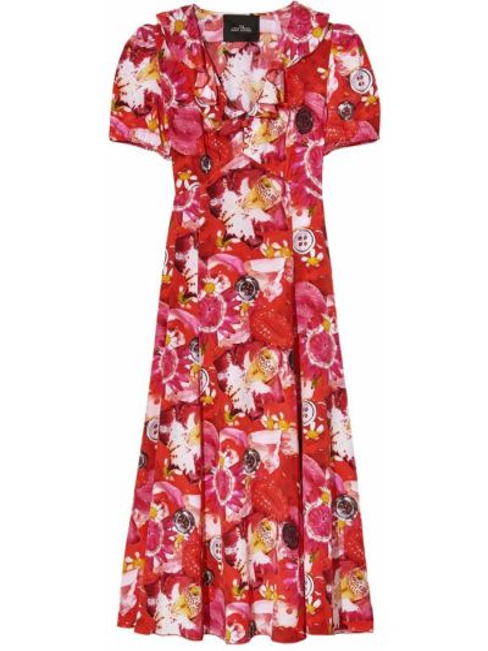 Шелковое красное платье мини в цветочный принт Marc Jacobs