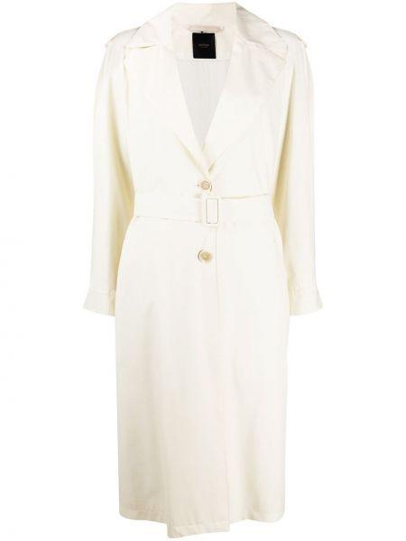 Белое шерстяное пальто с поясом на пуговицах Agnona