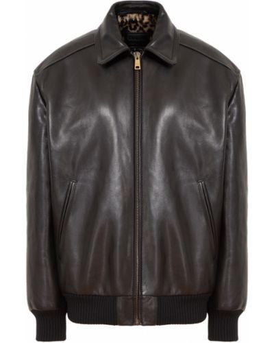 Кожаная куртка - черная Prada