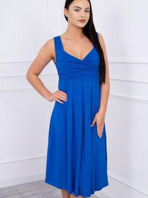 Niebieska sukienka rozkloszowana z wiskozy Kesi