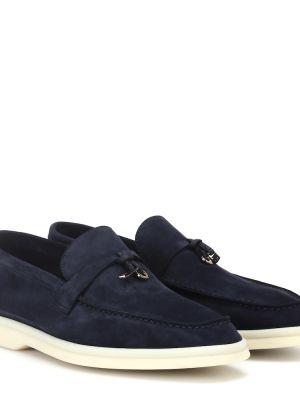 Синие кожаные туфли из натуральной кожи Loro Piana