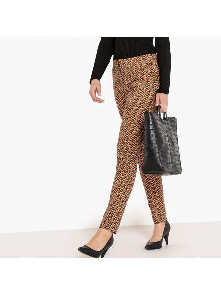 Черные брюки дудочки с рисунком с поясом узкого кроя La Redoute Collections