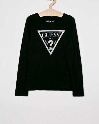 Czarna bluzka z wiskozy z printem Guess