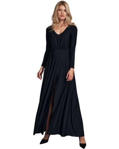 Sukienka rozkloszowana z długimi rękawami z dekoltem w serek Figl