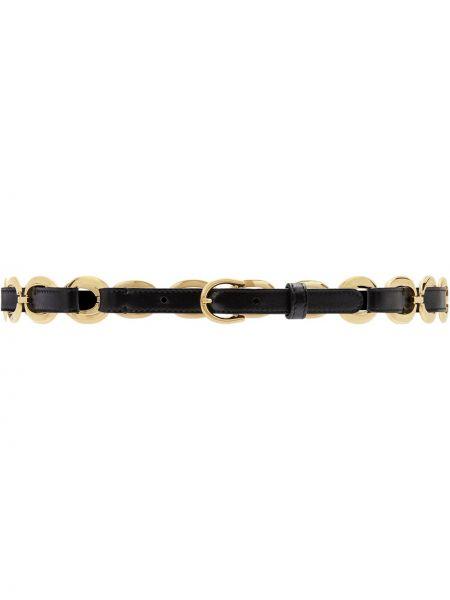 Skórzany pasek z paskiem złoto z klamrą Gucci
