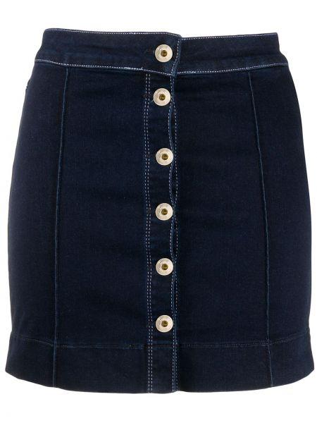Niebieska spódnica mini zapinane na guziki bawełniana Patrizia Pepe