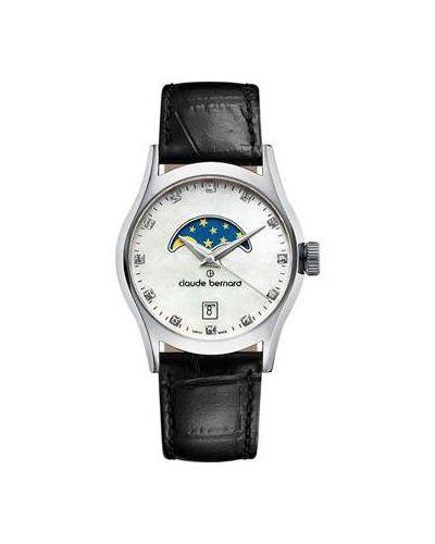 Часы на кожаном ремешке кварцевые швейцарские Claude Bernard