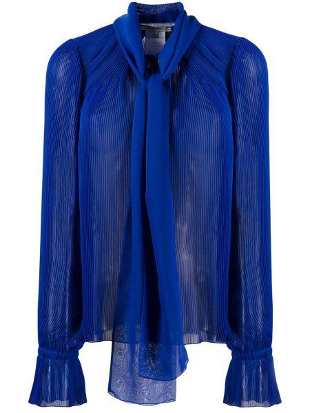 Синий топ в рубчик с круглым вырезом с драпировкой Marco De Vincenzo