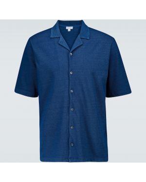 Повседневная синяя облегченная рубашка с воротником Sunspel