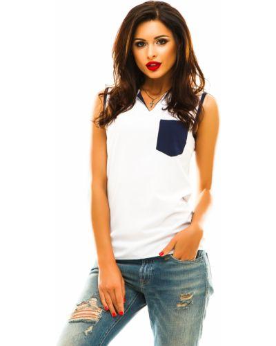 Блузка без рукавов с V-образным вырезом белая Lacywear