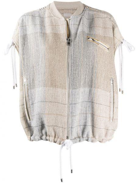 Шелковая бежевая куртка с воротником с карманами Mrz