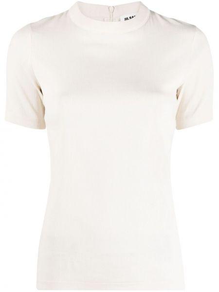 Прямая хлопковая белая футболка Jil Sander