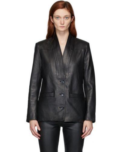 С рукавами черная кожаная длинная куртка Won Hundred