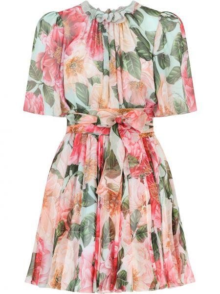 Шелковое розовое платье мини в цветочный принт Dolce & Gabbana