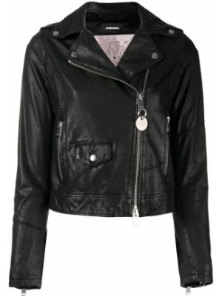 Кожаная куртка черная джинсовая Diesel