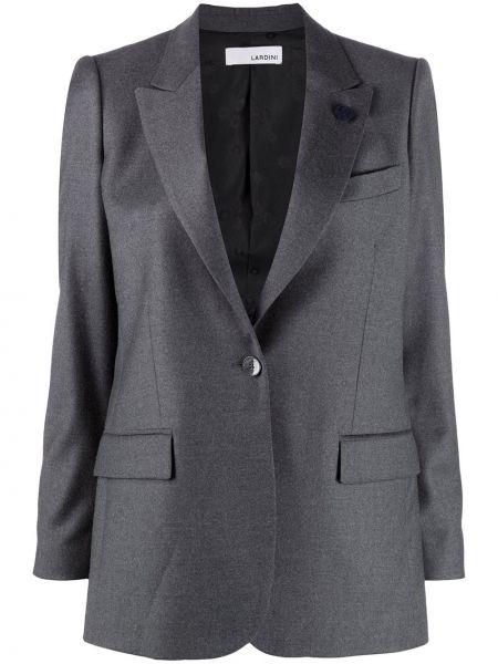 Шерстяная серая длинная куртка с отворотом с карманами Lardini
