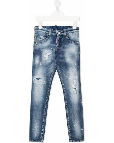 Кожаные синие джинсы на молнии Dsquared2 Kids