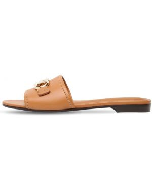 Шлепанцы на каблуке кожаные Salvatore Ferragamo