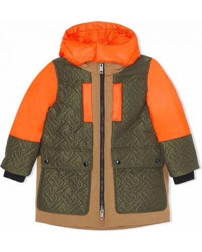 Zielony płaszcz z kapturem Burberry Kids