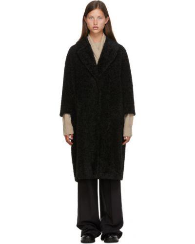 Черное длинное пальто с воротником с карманами 's Max Mara