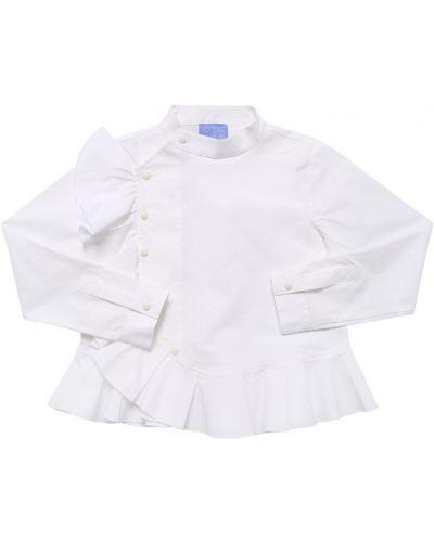 Biała koszula bawełniana z falbanami Stella Jean