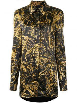 Шелковая с рукавами черная классическая рубашка Proenza Schouler