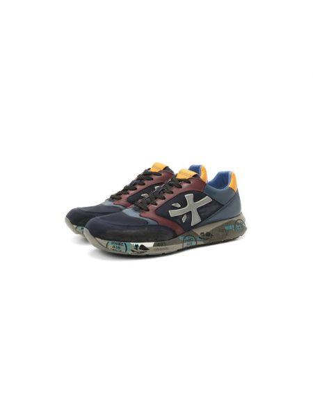 Комбинированные текстильные кроссовки на шнуровке с аппликациями Premiata