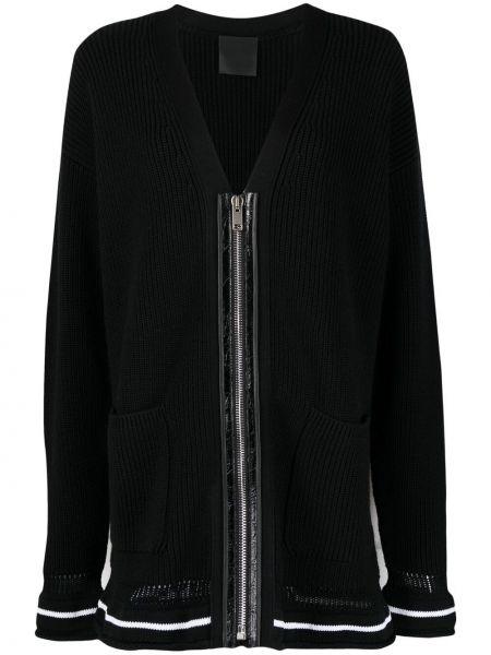 Czarny kardigan wełniany w paski Givenchy