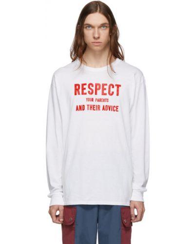 Biały t-shirt z długimi rękawami bawełniany Landlord