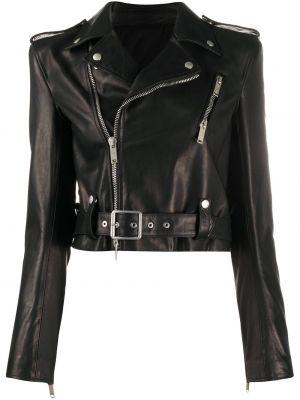 Черная куртка байкерская на кнопках с поясом Unravel Project
