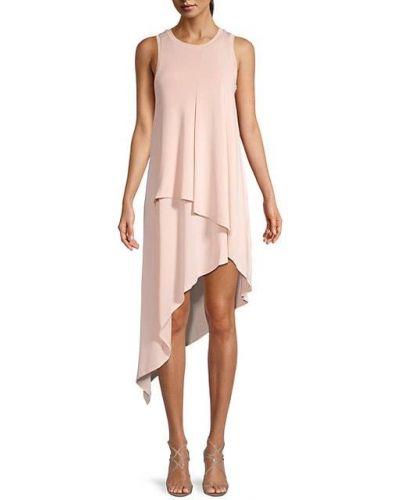 Асимметричное розовое платье без рукавов Bcbgmaxazria