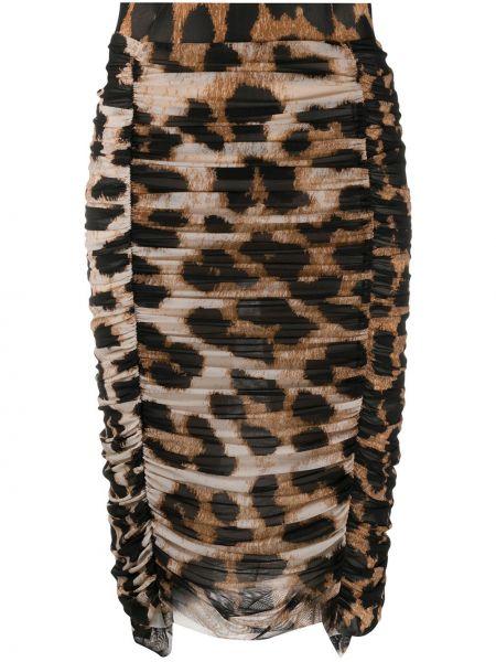 Юбка карандаш с завышенной талией леопардовая Ganni