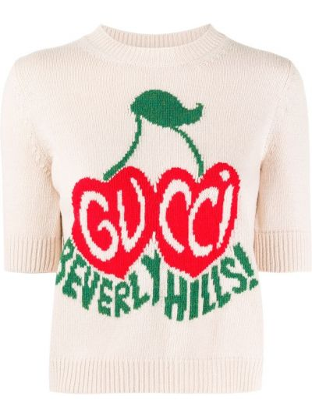 Wełniany prosto beżowy crop top okrągły dekolt Gucci