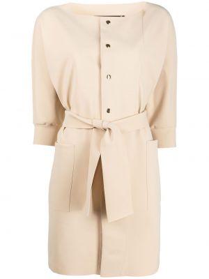 С кулиской длинное пальто с поясом на кнопках Le Petite Robe Di Chiara Boni