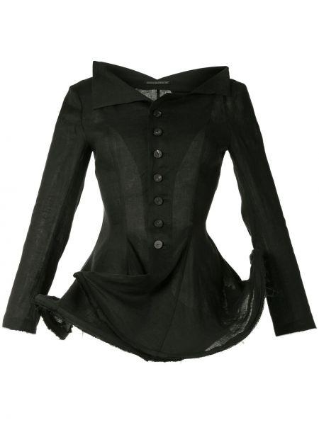 Льняная черная длинная куртка с воротником Yohji Yamamoto