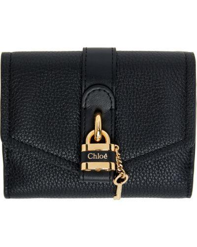Włókienniczy czarny portfel na monety z gniazdem prążkowany Chloe