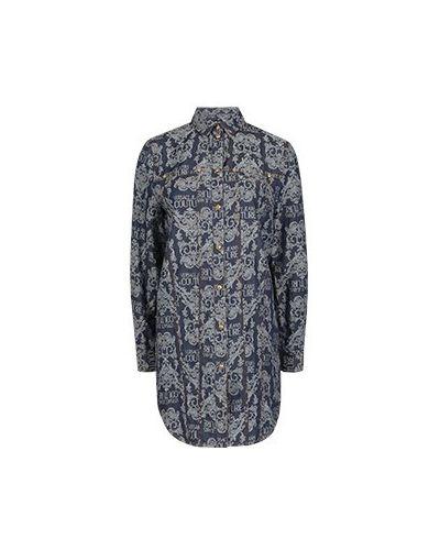 Хлопковая блузка - синяя Versace Jeans Couture