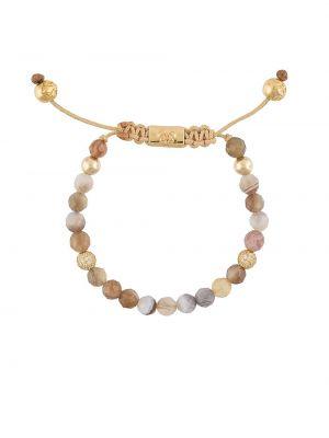 Коричневый золотой браслет с бисером Nialaya Jewelry