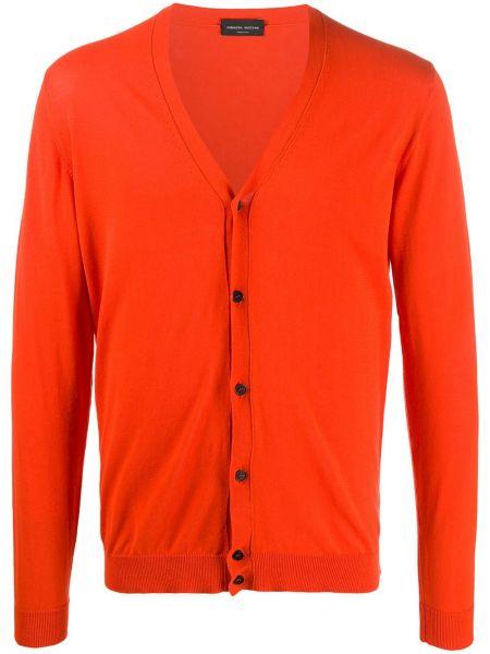 Пуховый оранжевый кардиган с вырезом Roberto Collina