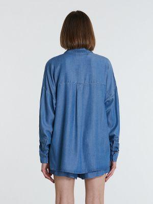 Рубашка с длинным рукавом - синяя Piazza Italia