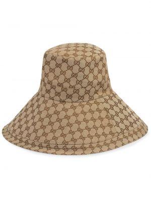 Beżowy kapelusz z haftem Gucci