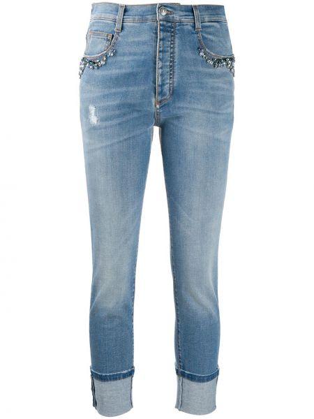 Синие облегающие укороченные джинсы с бисером на пуговицах Ermanno Scervino