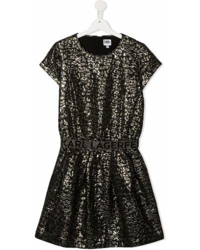Черное платье с рукавами с вырезом круглое из вискозы Karl Lagerfeld Kids