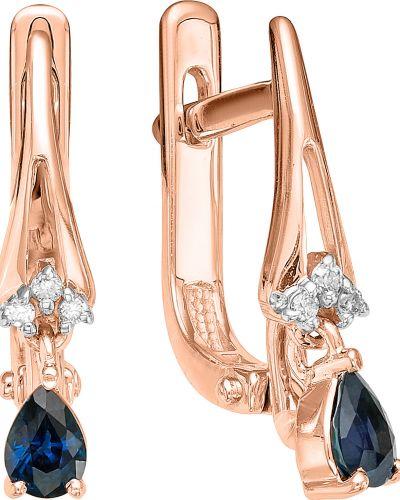 Серьги с бриллиантом c сапфиром Vesna Jewelry