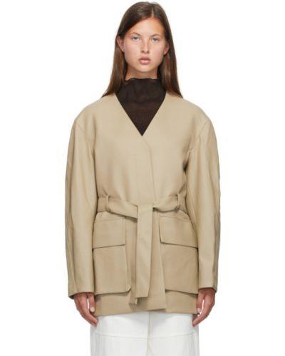 Бежевая классическая длинная куртка с подкладкой с воротником Low Classic